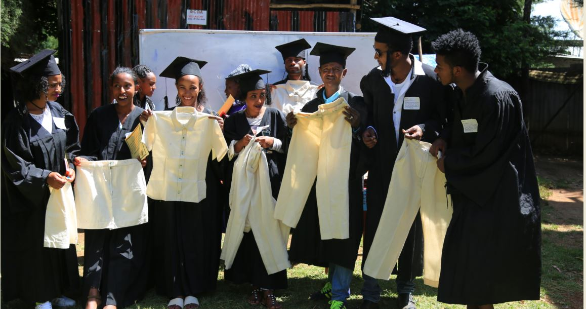 Youth graduates on  garment (tailoring)  work